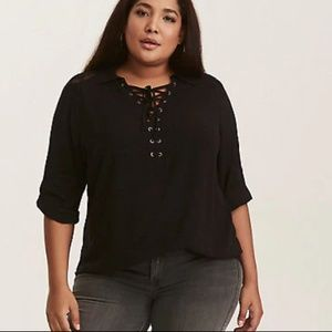Torrid NWT Black Challis Embroidered Inset Top